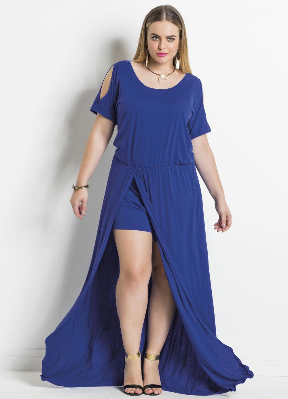 Vestido Longo Azul Com Fenda Plus Size Quintess