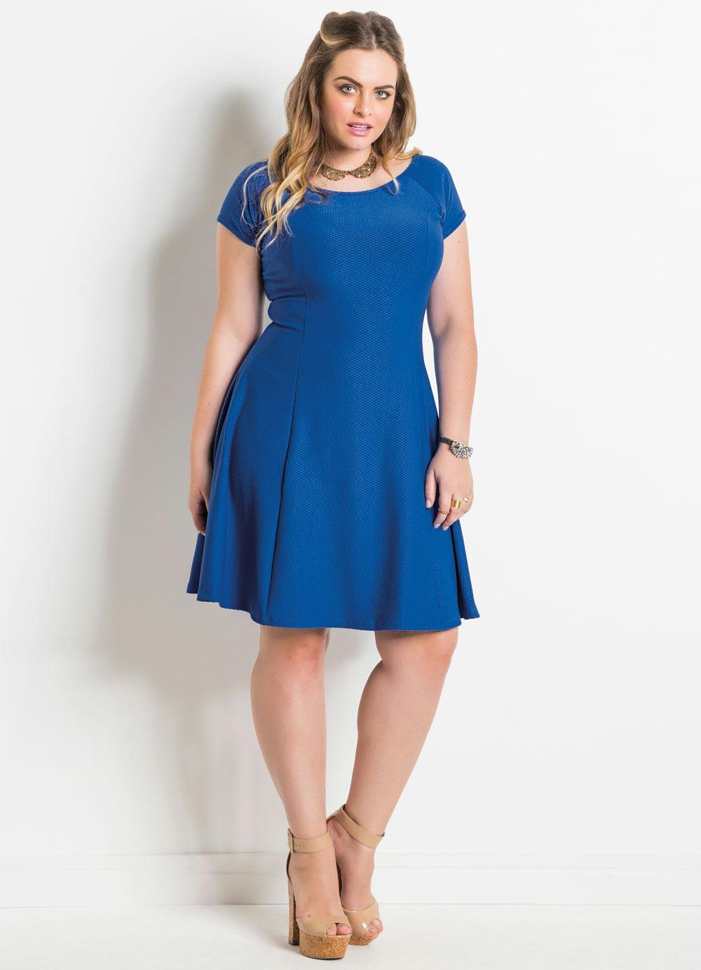 0c3bcb5a089f93 Vestido Evasê (Azul) Plus Size Quintess