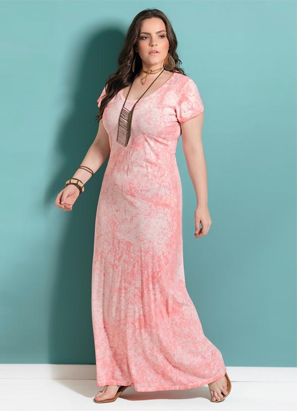 64f7459df VESTIDO LONGO QUINTESS CORAL COM FENDA PLUS SIZE - Quintess