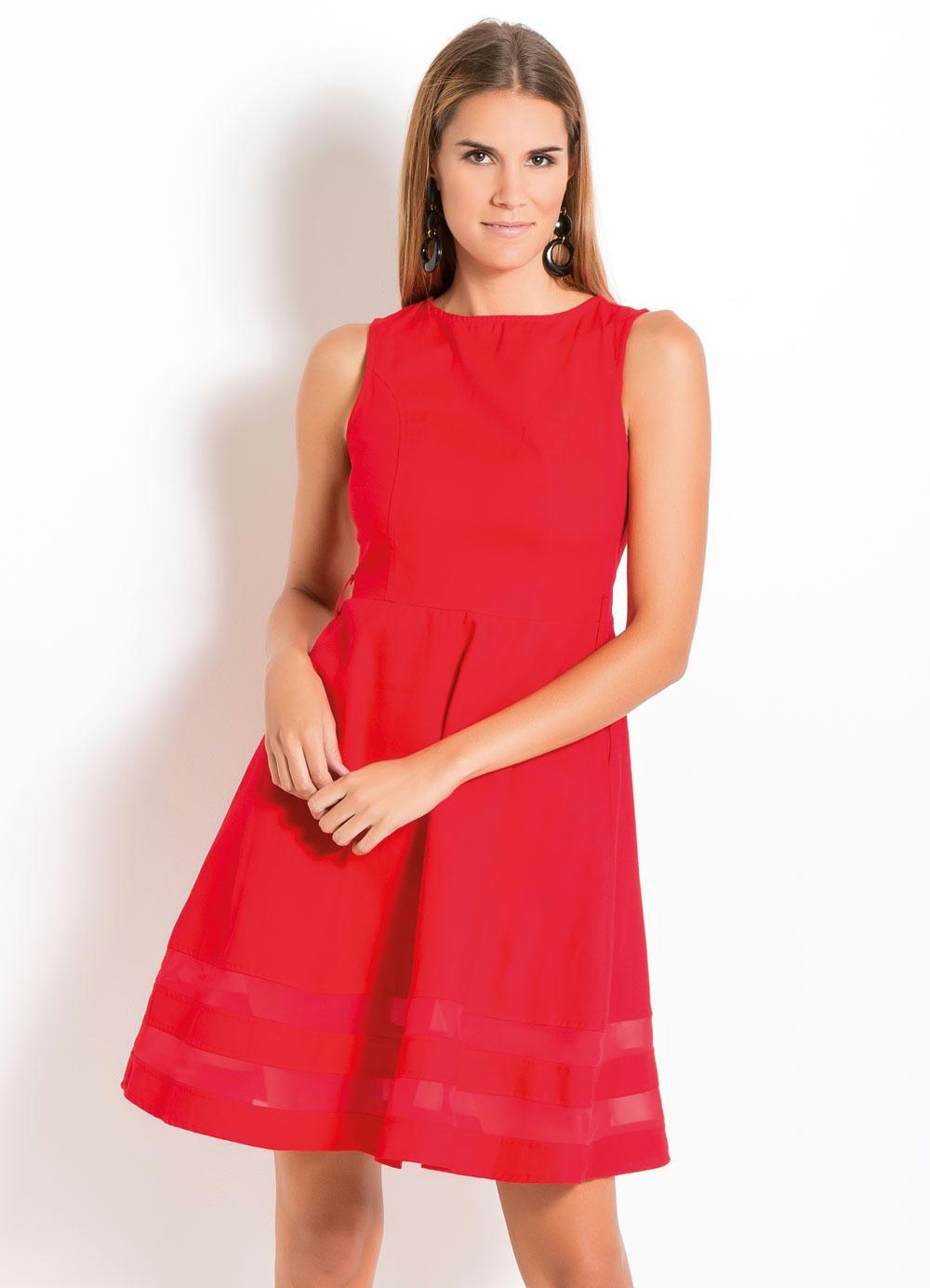87d8e4846 Vestido Evasê Quintess Plus Size Vermelho - Quintess