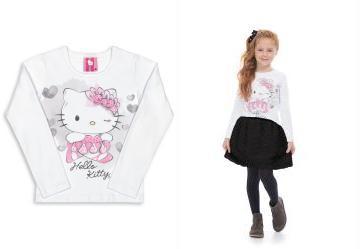 1e1389fbf 0.0 Blusa Manga Longa Menina Branco Hello Kitty