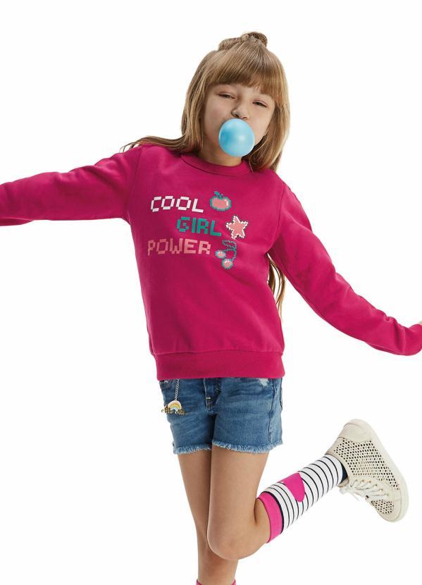 Malwee Kids - Blusão Pink em Moletom Flanelado