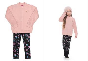 066cc0fb2a 0.0 Conjunto de Inverno Infantil Rosa Hello Kitty