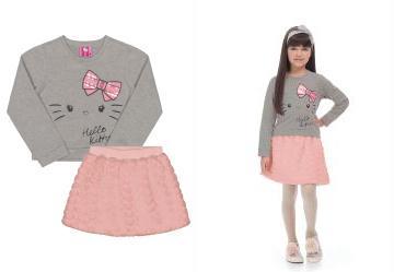 c903371691 0.0 Conjunto Inverno Menina Cinza Hello Kitty