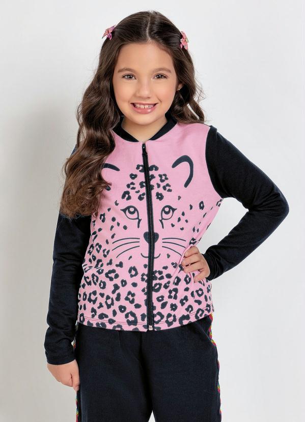 Moda Pop - Jaqueta Infantil Rosa e Preto Estampa Oncinha