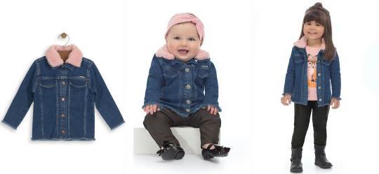 5d3a04b3a 0.0 Jaqueta Jeans Infantil Menina Azul