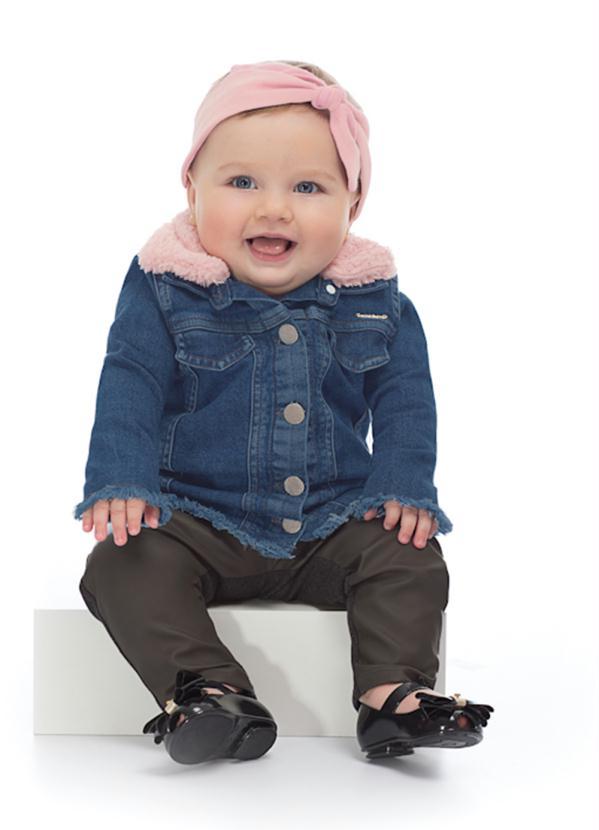 Up Baby - Jaqueta Jeans Infantil Menina Azul