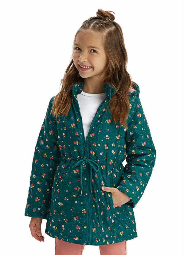 Malwee Kids - Jaqueta Verde Escuro Estampada com Amarração