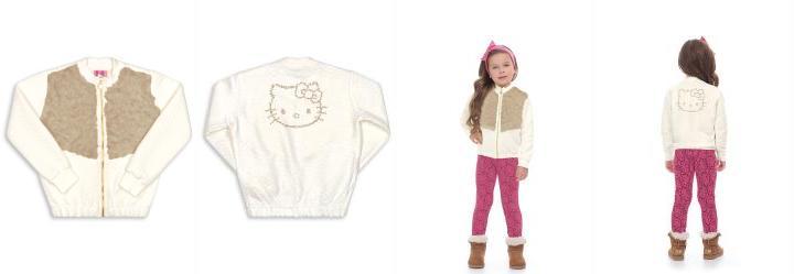 5e418f25d2 0.0 Jaqueta Infantil Moletom Bege Hello Kitty