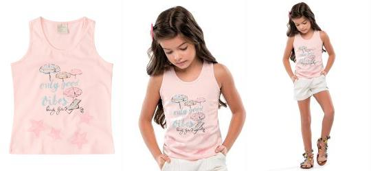219305b26e 0.0 Blusa Regata Estampada Rosa Infantil Quimby