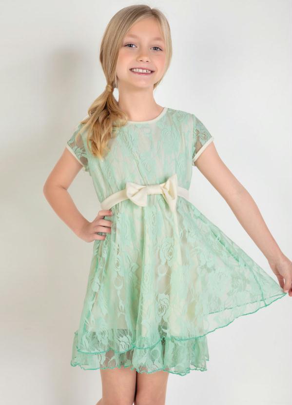 Moda Pop - Vestido Infantil com Renda Verde