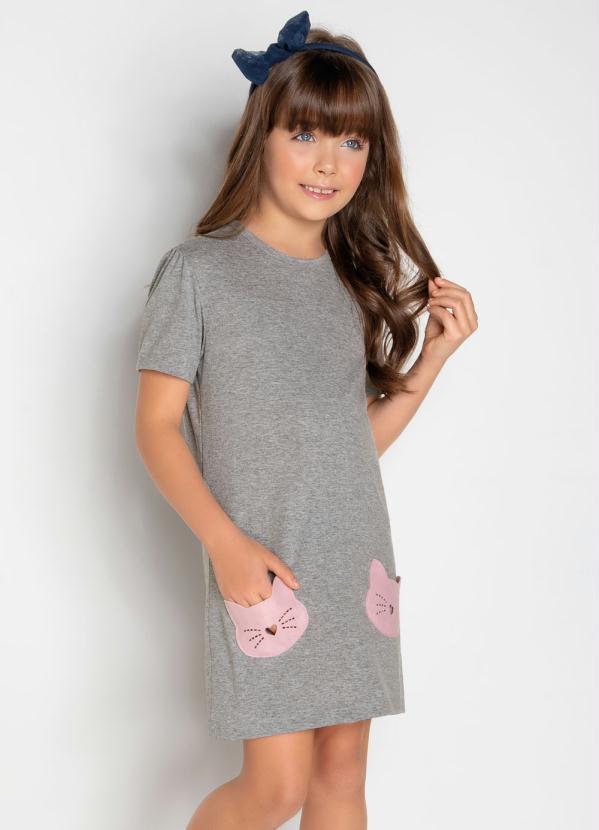 Moda Pop - Vestido com Bolsos em Formato Gatinho Mescla