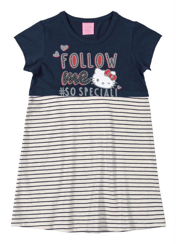 Hello Kitty - Vestido em Cotton Azul