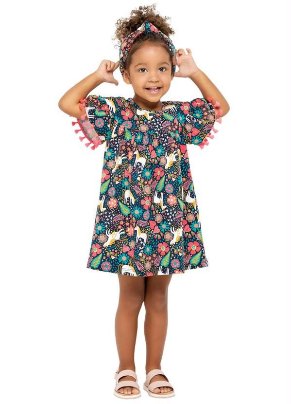Nanai - Vestido Infantil Azul Marinho Nanai