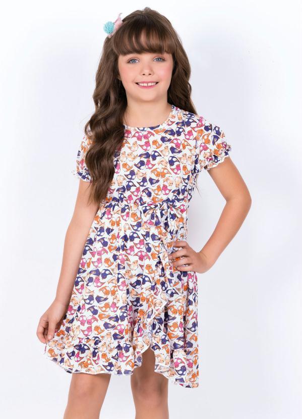 Moda Pop - Vestido Infantil com Laço Decorativo Passáros