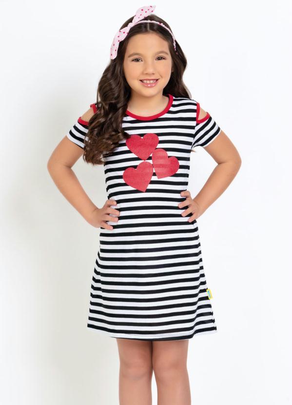 Moda Pop - Vestido Infantil Corações Glitter Listrado