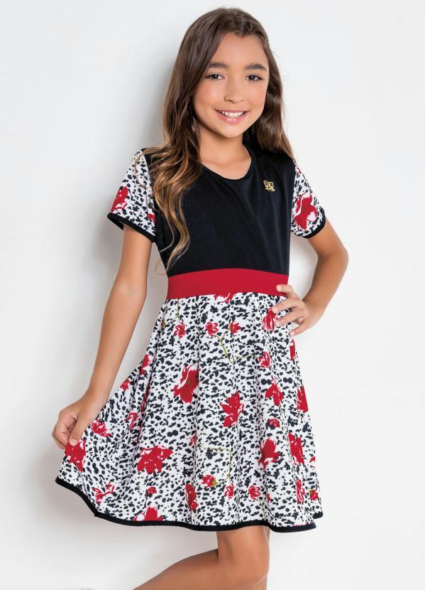 Kolormagic - Vestido Infantil Kollor Magic Preta e Flores