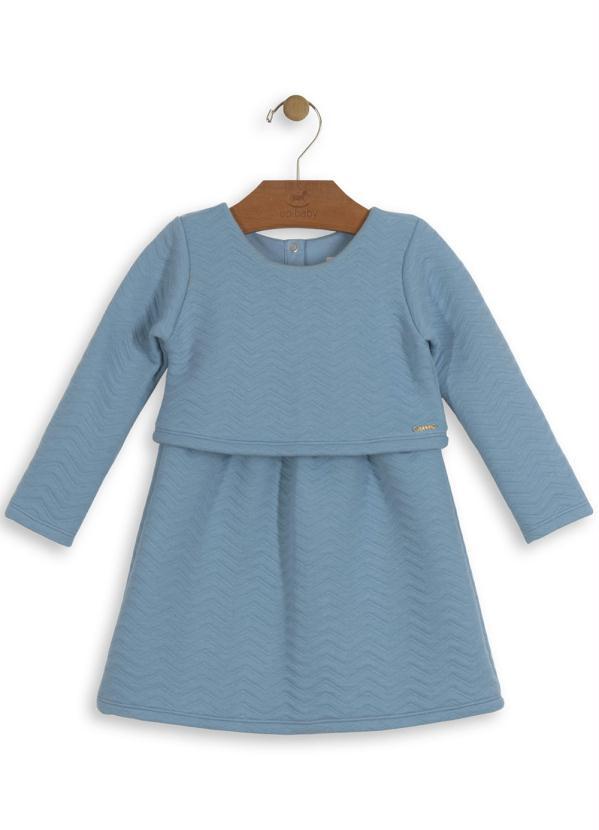 Up Baby - Vestido Infantil Matelassê Azul