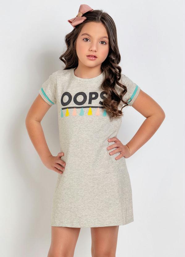 Moda Pop - Vestido Infantil Mescla Estampa com Glitter