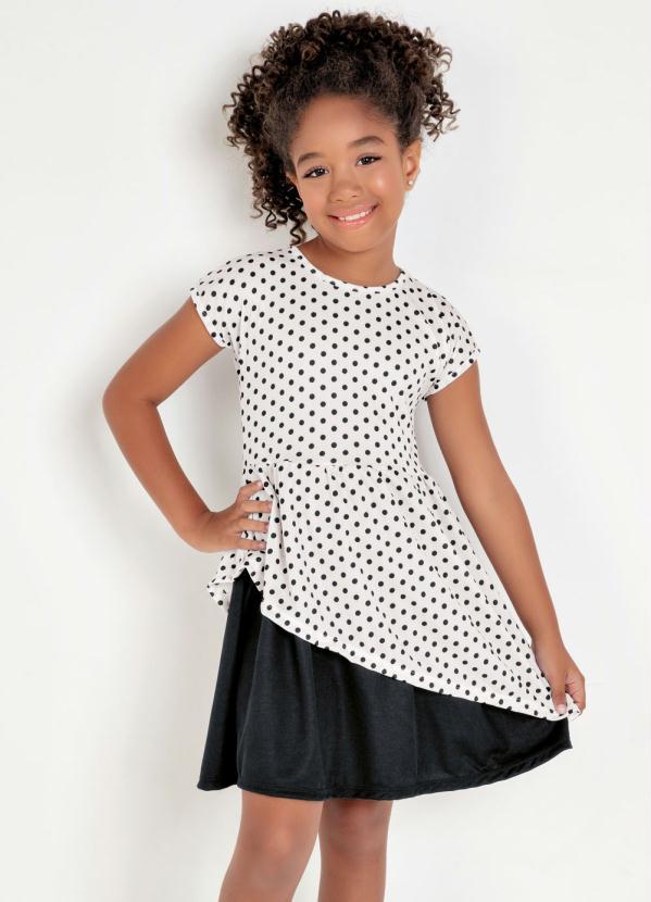 Moda Pop - Vestido Infantil Poá Transpassado