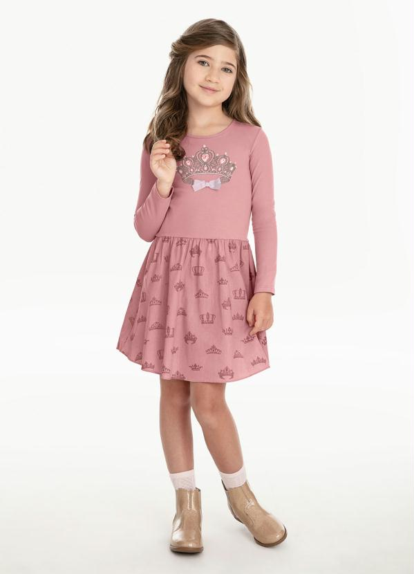 Carinhoso - Vestido Manga Longa Rosa