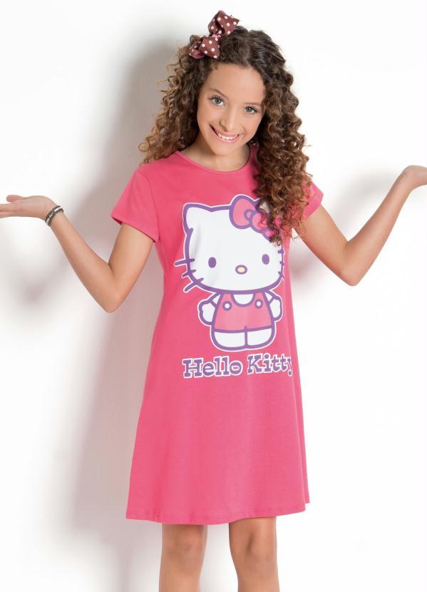 Hello Kitty - Vestido Pink Hello Kitty com Decote Redondo
