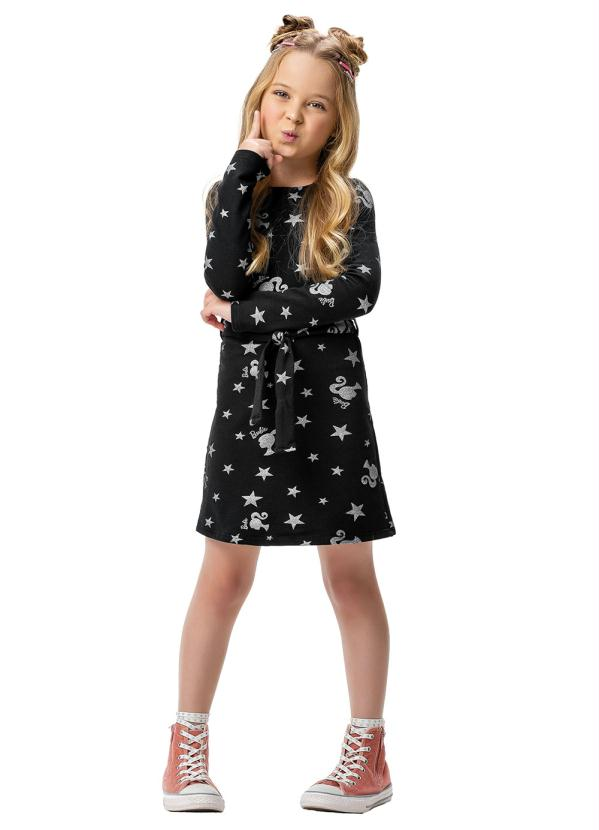 Malwee Kids - Vestido Preto Curto Barbie®