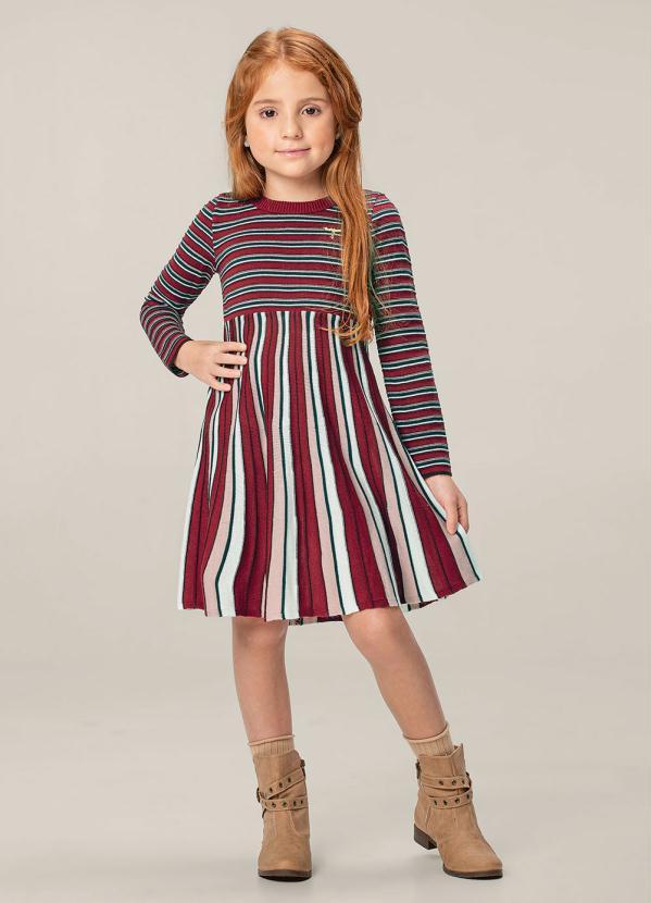 Carinhoso - Vestido Vermelho Escuro Curto em Tricô